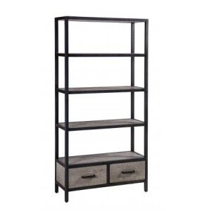 Forge Iron and Weathered Oak Furniture 2 Drawers Tall Bookcase