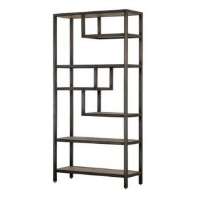 Forge Iron and Weathered Oak Furniture Tall Shelf Rack Bookcase