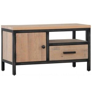 Forge Iron and White Wash Oak Furniture 1 Door 1 Drawer TV Media unit