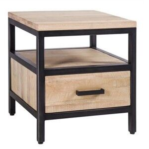Forge Iron and White Wash Oak Furniture 1 Drawer Side Table with Shelf