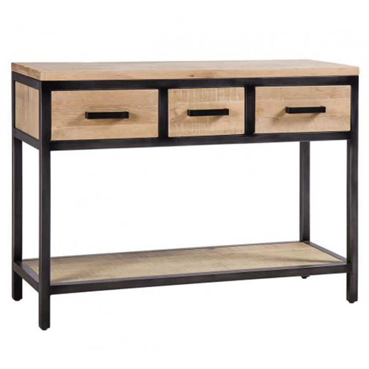 Forge Iron and White Wash Oak Furniture 3 Drawer Hall Table with Oak Shelf