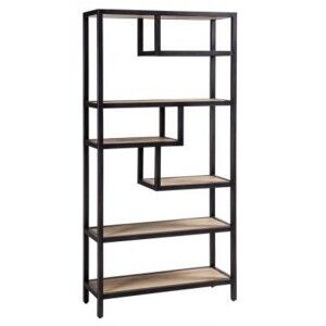 Forge Iron and White Wash Oak Furniture Tall Large Open Shelf Rack