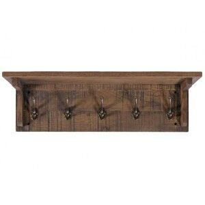 Vancouver Sawn Old Oak Furniture Coat Rack with 5 Hooks