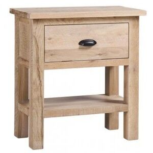 Vancouver Sawn Solid Oak White Wash Furniture 1 Drawer Console Table