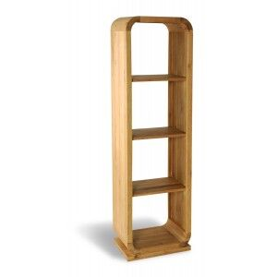 Parlour Curved Oak Living Room Furniture Tall 3 Shelf Bookcase