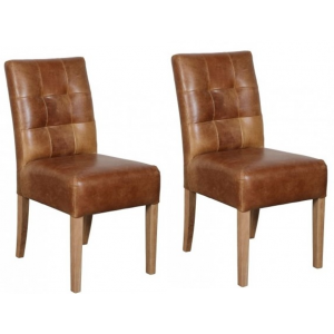 Additions Oak Furniture Brown Colin Aniline Leather Dining Chair Pair