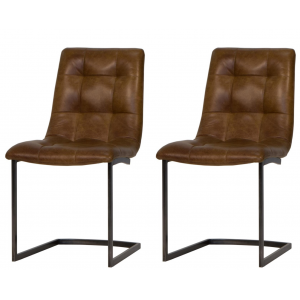 Additions Oak Furniture Brown Hampton Aniline Leather Dining Chair Pair
