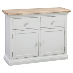 Cotswold Solid Oak Cream Painted Furniture Small 2 Door 2 Drawer Sideboard