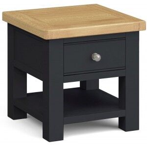 Corndell Daylesford Oak and Charcoal Painted 1 Drawer Lamp Table