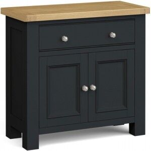 Corndell Daylesford Oak and Charcoal Painted 2 Drawer 1 Door Mini Sideboard