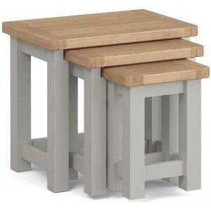 Corndell Daylesford Oak and Pebble Grey Painted Nest of Tables