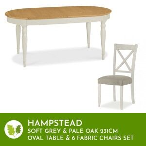 Hampstead Soft Grey & Pale Oak Oval Table 231cm & 6 Fabric Chairs