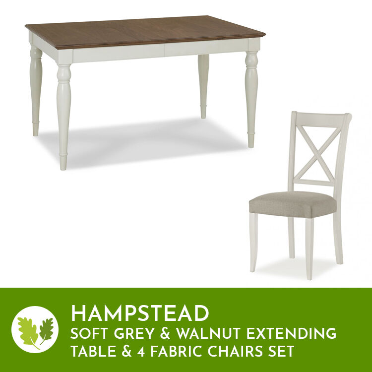 Hampstead Soft Grey & Walnut Ext Table 4-6 Seat & Fabric Chairs