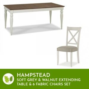 Hampstead Soft Grey & Walnut Ext Table 6-8 Seat & Fabric Chairs