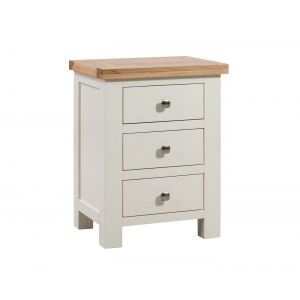 Devonshire Dorset Ivory Painted Furniture 3 Drawer Bedside Table