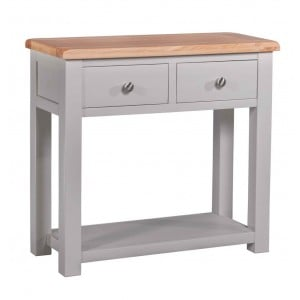 Diamond Solid Oak Grey Painted Furniture Hall Table With Shelf
