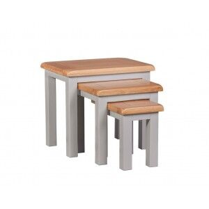 Diamond Solid Oak Grey Painted Furniture Nest of Tables