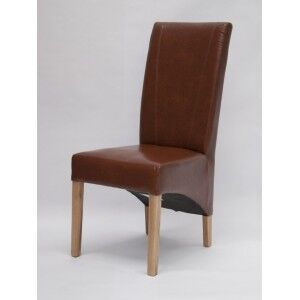 Trend Solid Oak Furniture Contempo Tan Bonded Leather Dining Chair (Pair)