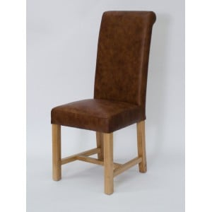 Homestyle Opus Oak Furniture Henley Mocha Leather Dining Chair (Pair)