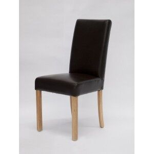 Deluxe Solid Oak Marianna Brown Leather Dining Chair (Pair)