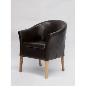 Homestyle Opus Oak Furniture Brown Leather Tub Chair