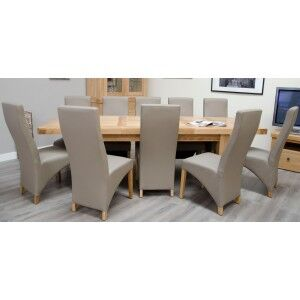 Bordeaux Solid Oak Furniture 12 Seater Grand Dining Table & Wave Chairs Set