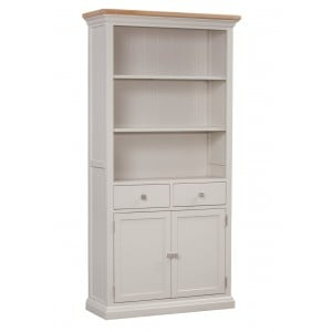 Cotswold Solid Oak Cream Painted Furniture Large 2 Shelf Bookcase