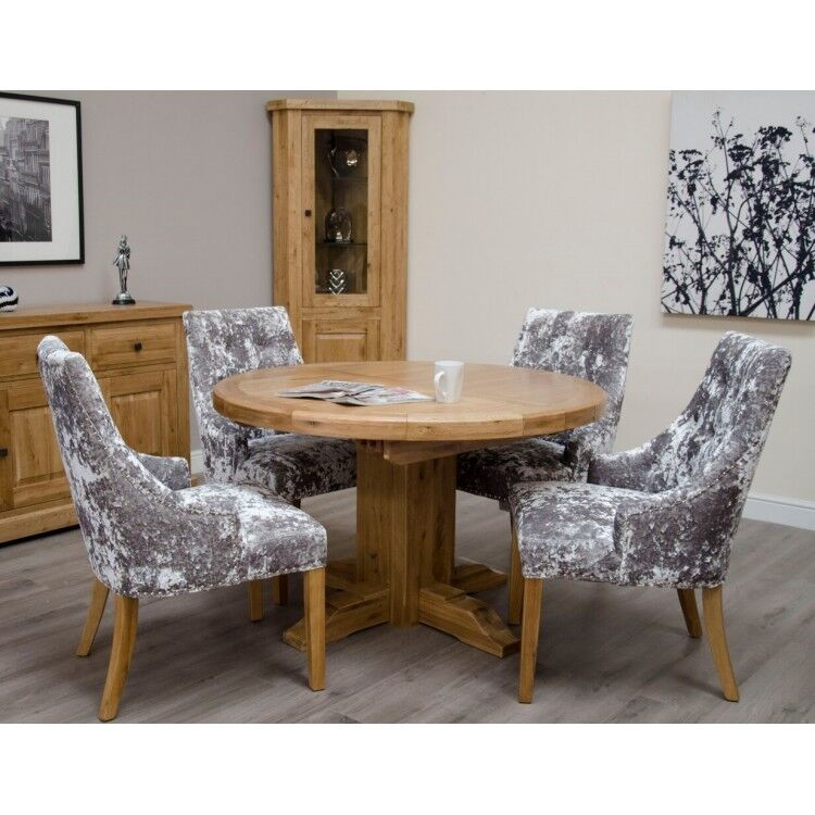Deluxe Solid Oak Furniture Round Extending Table 125cm