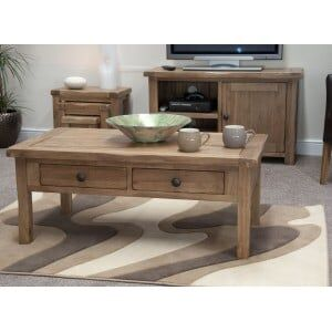 Rustic Solid Oak Furniture Coffee Table With Drawers