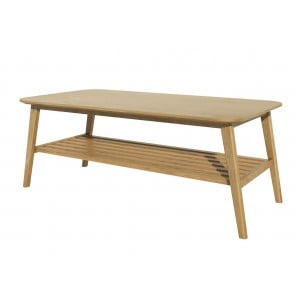 Scandic Solid Oak Furniture Large Coffee Table With Shelf