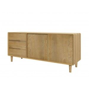 Scandic Solid Oak Furniture 3 Drawer 2 Door Wide Unit