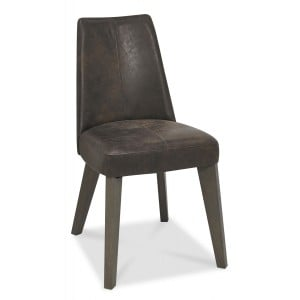 Cadell Oak Furniture Brown Distressed Bonded Leather Dining Chair Pair