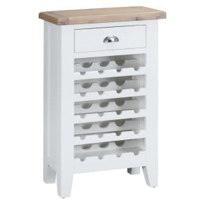 Tenby White Painted Furniture Wine Rack with Drawer