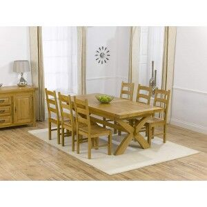 Canterbury Solid Oak Extending Table & 6 Valencia Timber 200-240cm