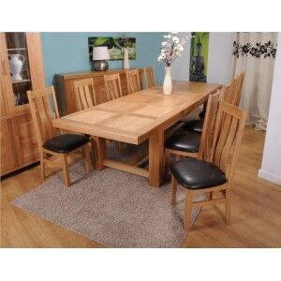 Bordeaux Solid Oak Furniture Grand Table & Vermont Maria Chairs Set