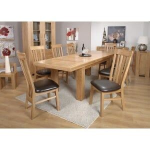 Bordeaux Solid Oak Furniture Large Table & Lucia Dining Chairs