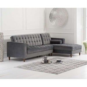 Anneliese Furniture Grey Velvet Right Facing Chaise Sofa