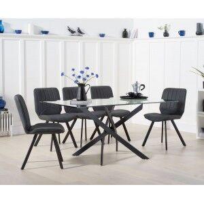 Mark Harris Marina Industrial Glass Dining Table 160cm & Damanti Set