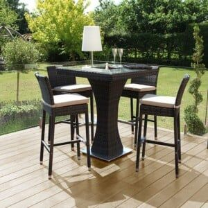 Maze Rattan Garden Furniture Brown 4 Seat Square Bar Set with Ice Bucket