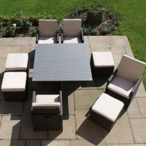 Maze Rattan Garden Furniture Brown 4 Seater Cube Set with Footstools