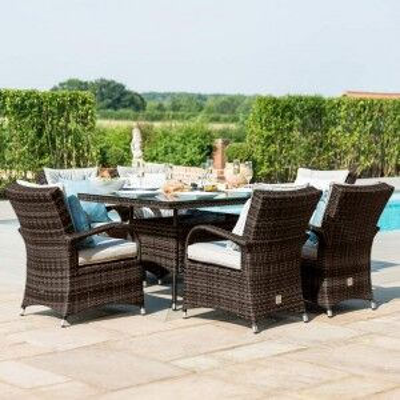 Maze Rattan Garden Furniture Texas Brown 6 Seater Rectangle Table Set