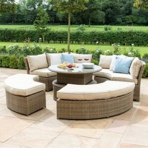 Maze Rattan Garden Furniture Tuscany Chelsea Lifestyle Sofa Set & Glass Table Top