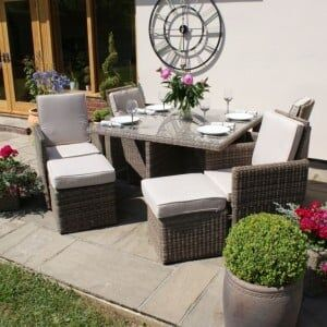Maze Rattan Garden Furniture Winchester 4 Seater Cube Set with Footstool