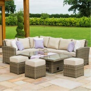 Maze Winchester Garden Furniture Kingston Corner Dining Set with Rising Table