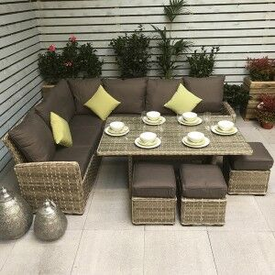 Signature Weave Garden Furniture Katherine Corner Dining Sofa Set in 3 Weave Caramel