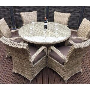 Signature Weave Garden Furniture Florence Caramel 6 Seater Round Dining Set