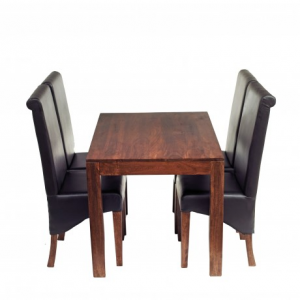 Toko Dark Mango Furniture Small 4ft Dining Table & Leather Chairs Set
