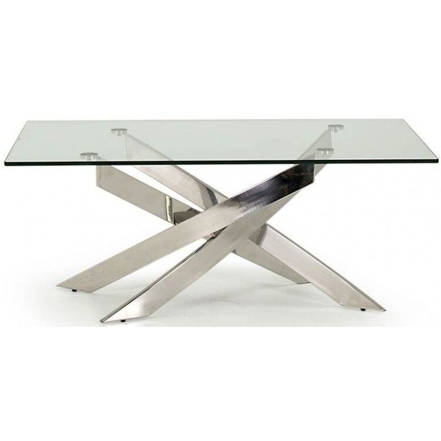 Vida Living Kalmar Glass & Steel Furniture Coffee Table
