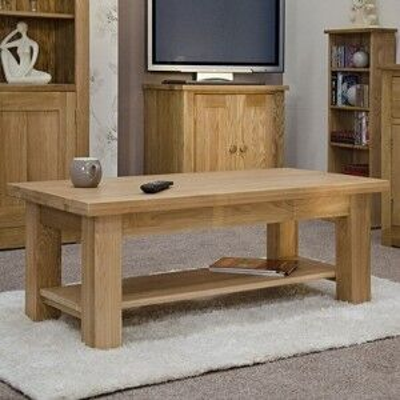 Torino Solid Oak Furniture 4x2 Coffee Table With Shelf