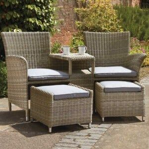 Royalcraft Garden Wentworth Rattan Companion Set With Footstools